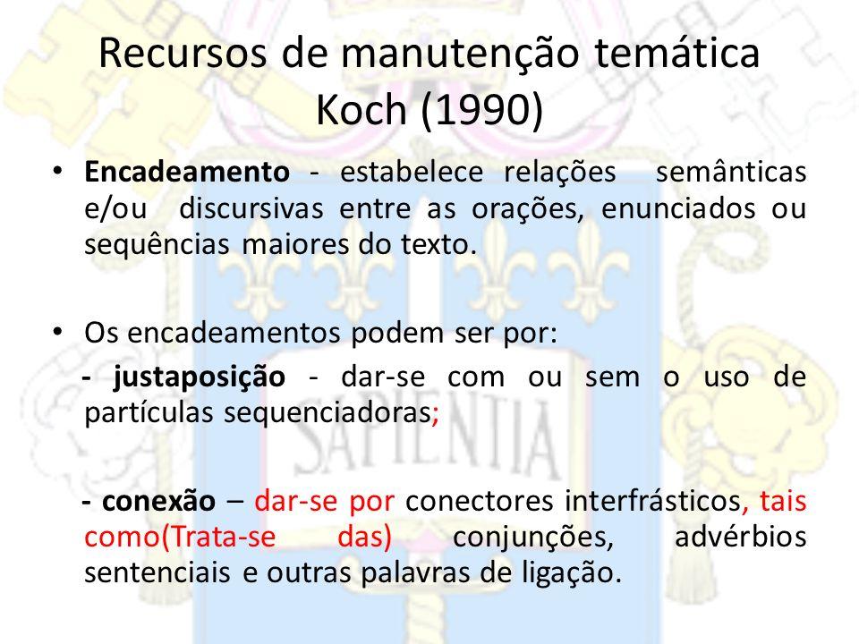 Recursos de manutenção temática Koch (1990)