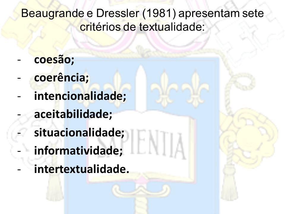 coesão; coerência; intencionalidade; aceitabilidade; situacionalidade;