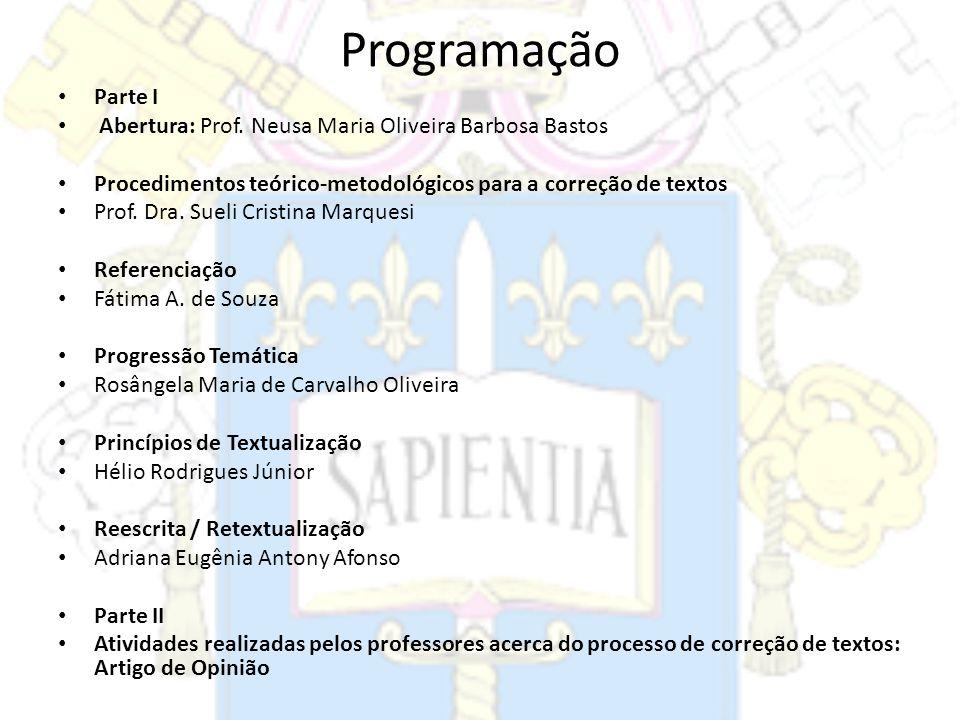 ProgramaçãoParte I. Abertura: Prof. Neusa Maria Oliveira Barbosa Bastos. Procedimentos teórico-metodológicos para a correção de textos.