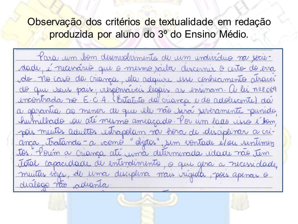 Observação dos critérios de textualidade em redação produzida por aluno do 3º do Ensino Médio.