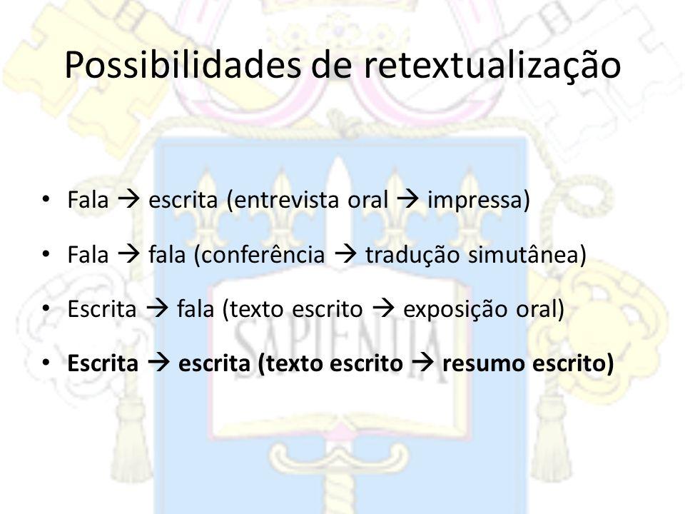 Possibilidades de retextualização