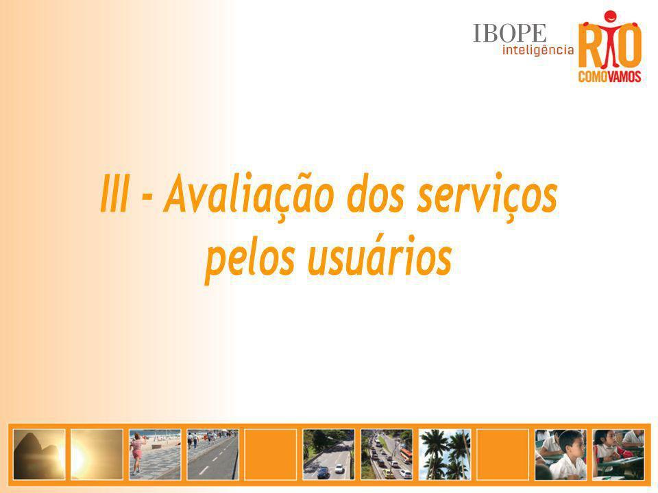 III - Avaliação dos serviços