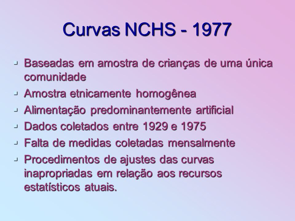 Curvas NCHS - 1977Baseadas em amostra de crianças de uma única comunidade. Amostra etnicamente homogênea.