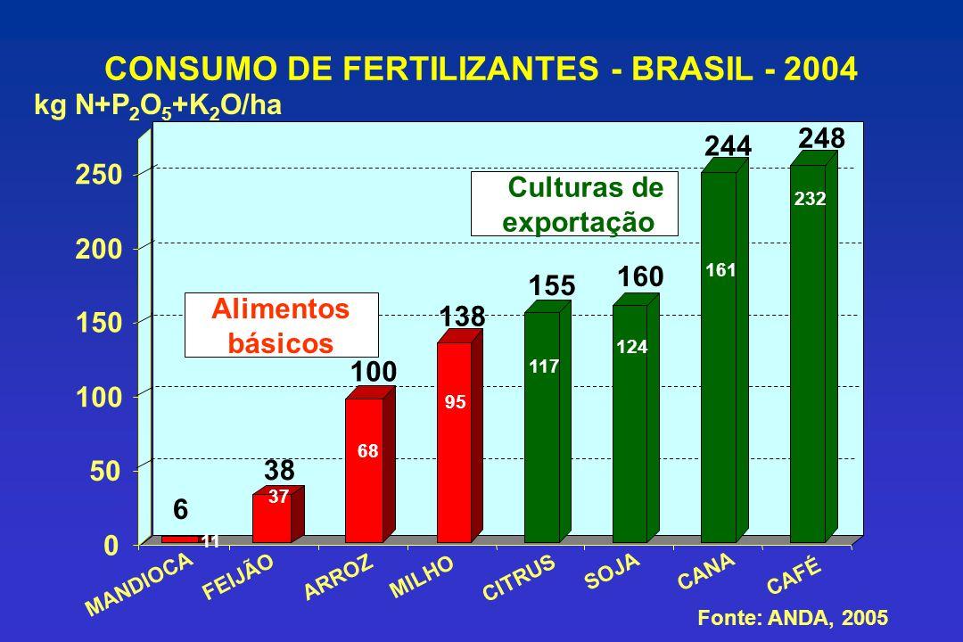 CONSUMO DE FERTILIZANTES - BRASIL - 2004