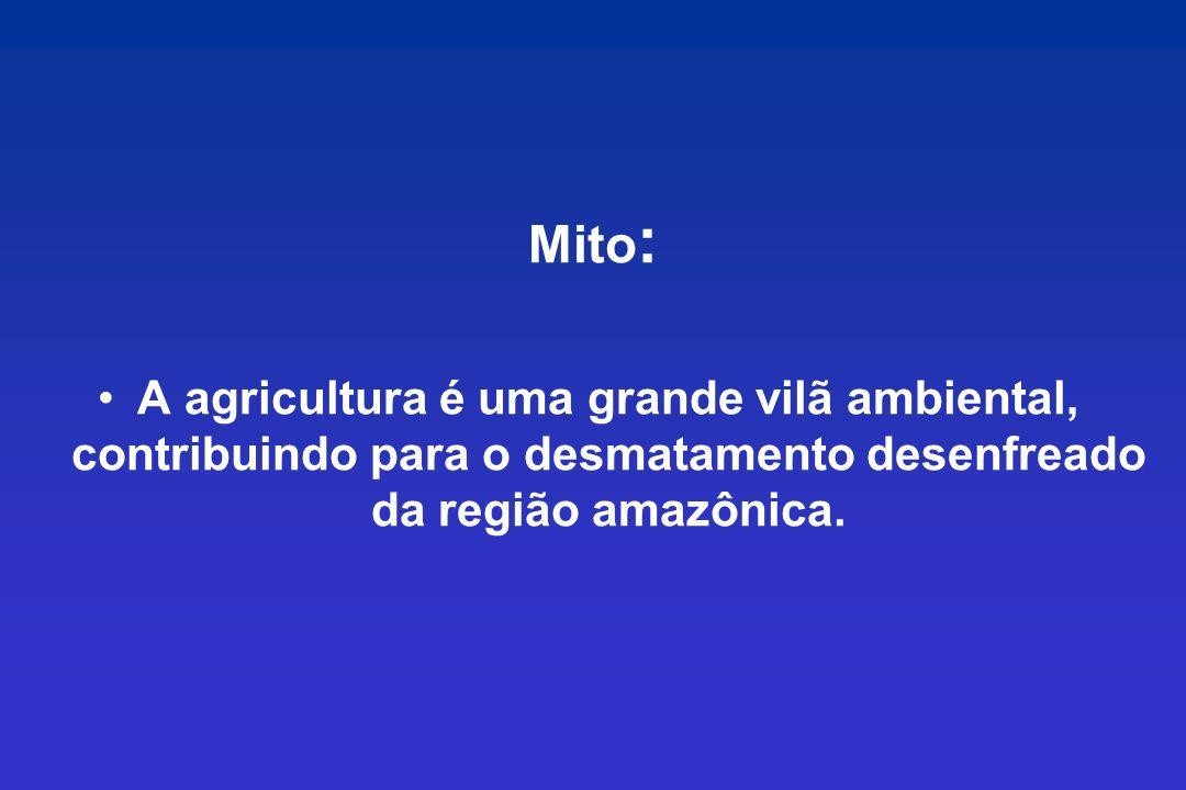 Mito: A agricultura é uma grande vilã ambiental, contribuindo para o desmatamento desenfreado da região amazônica.