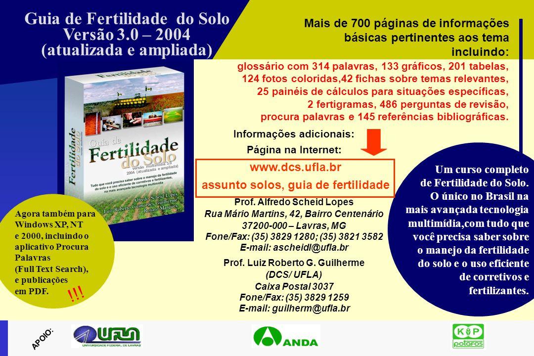 Guia de Fertilidade do Solo Versão 3.0 – 2004 (atualizada e ampliada)