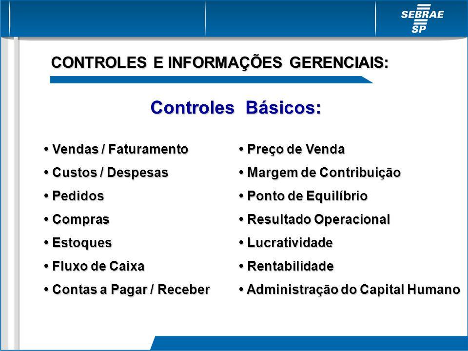 Controles Básicos: CONTROLES E INFORMAÇÕES GERENCIAIS: