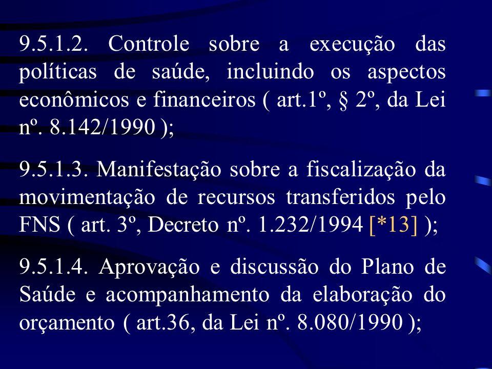 9.5.1.2. Controle sobre a execução das políticas de saúde, incluindo os aspectos econômicos e financeiros ( art.1º, § 2º, da Lei nº. 8.142/1990 );