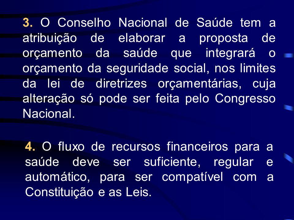 3. O Conselho Nacional de Saúde tem a atribuição de elaborar a proposta de orçamento da saúde que integrará o orçamento da seguridade social, nos limites da lei de diretrizes orçamentárias, cuja alteração só pode ser feita pelo Congresso Nacional.