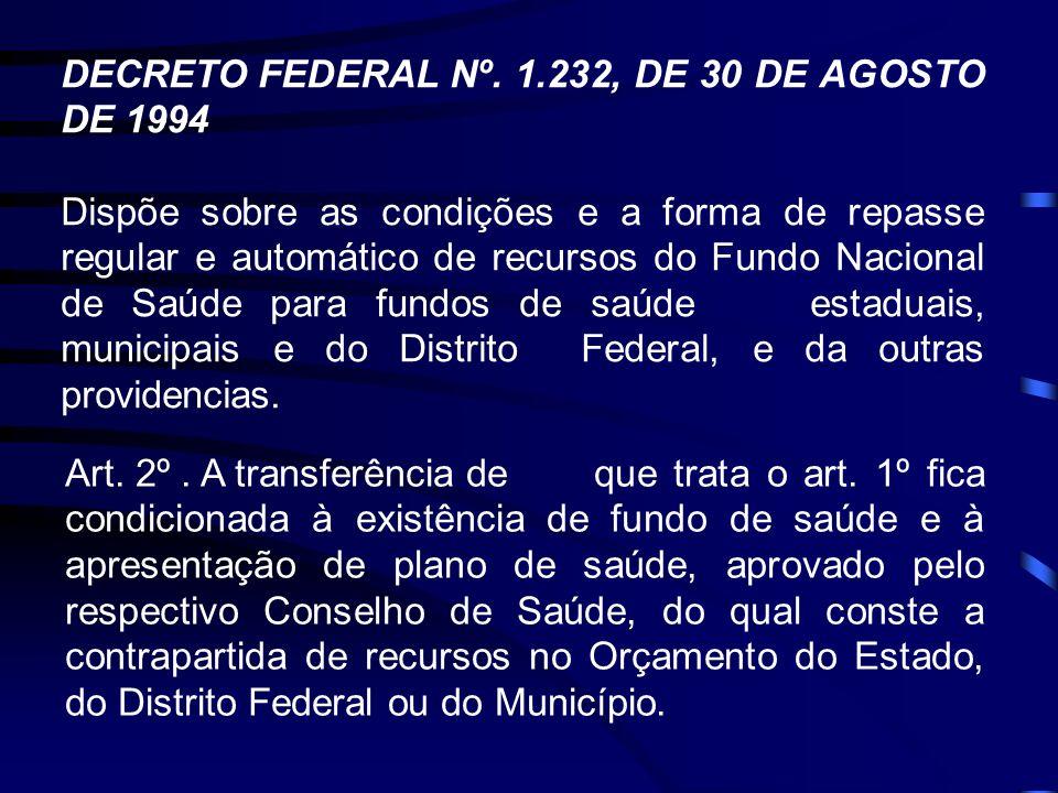 DECRETO FEDERAL Nº. 1.232, DE 30 DE AGOSTO DE 1994