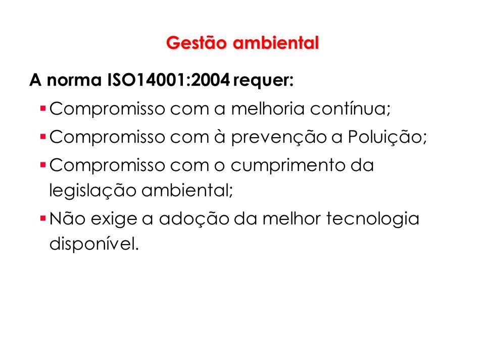 Gestão ambiental A norma ISO14001:2004 requer: Compromisso com a melhoria contínua; Compromisso com à prevenção a Poluição;