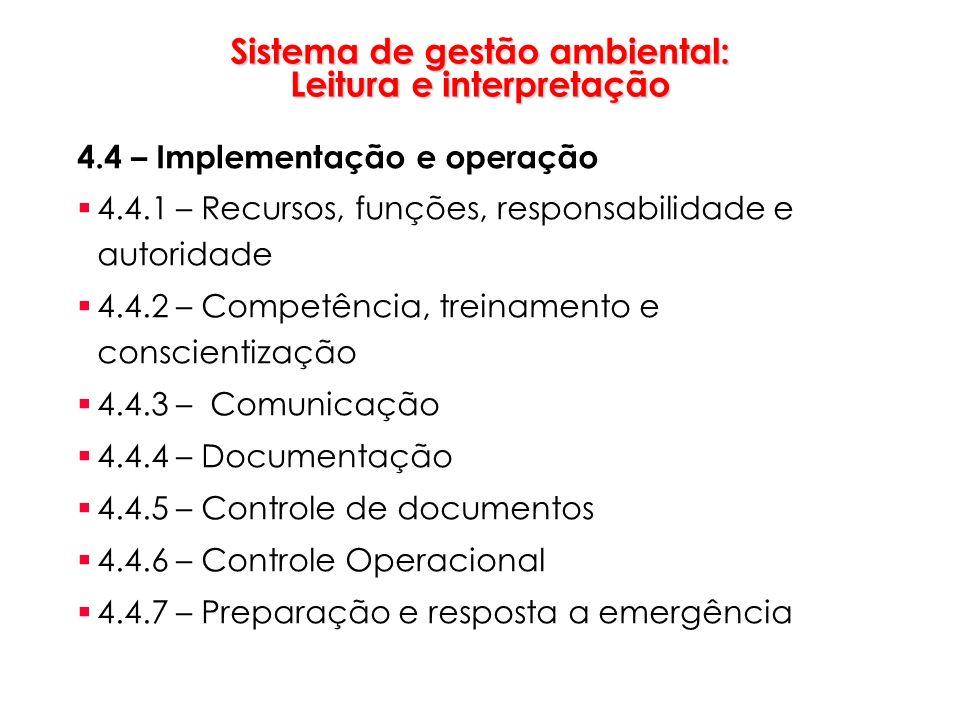 Sistema de gestão ambiental: Leitura e interpretação