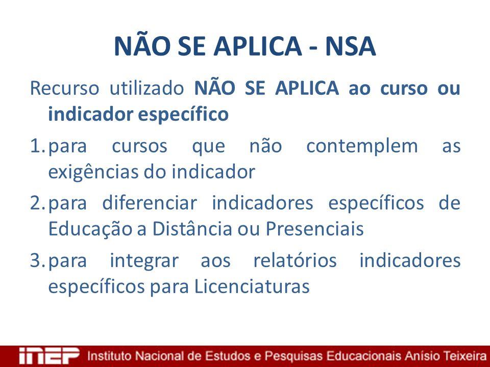 NÃO SE APLICA - NSARecurso utilizado NÃO SE APLICA ao curso ou indicador específico. para cursos que não contemplem as exigências do indicador.