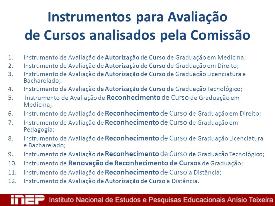 Instrumentos para Avaliação de Cursos analisados pela Comissão