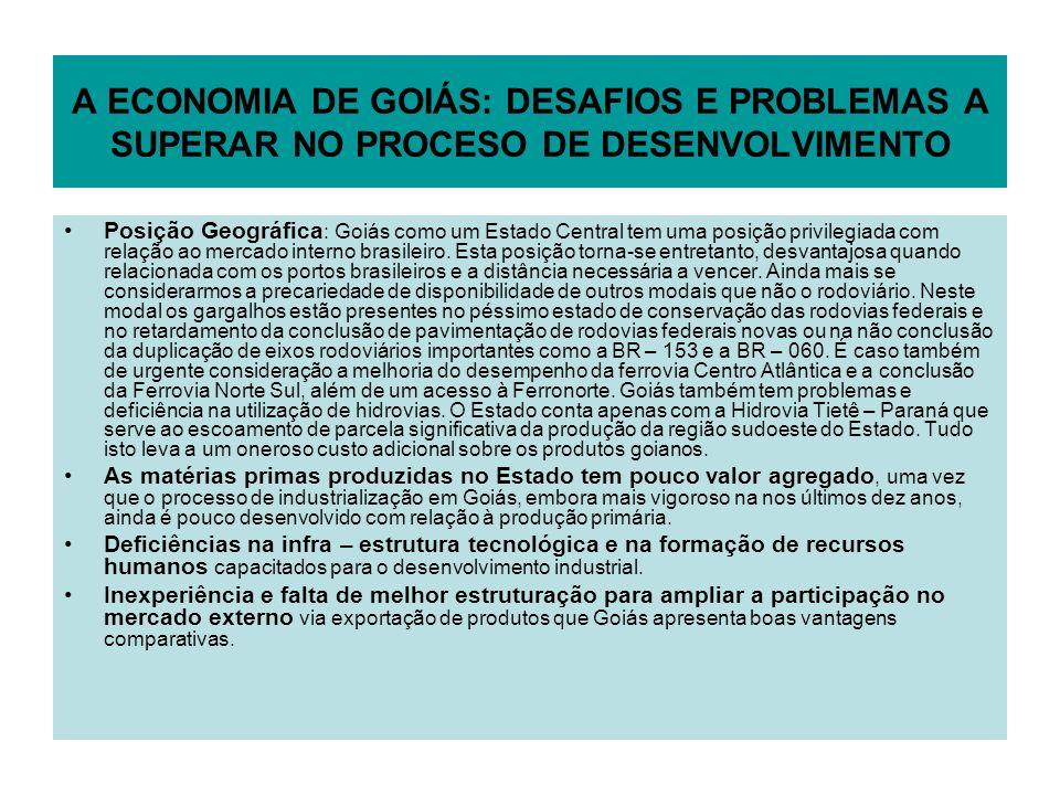 A ECONOMIA DE GOIÁS: DESAFIOS E PROBLEMAS A SUPERAR NO PROCESO DE DESENVOLVIMENTO