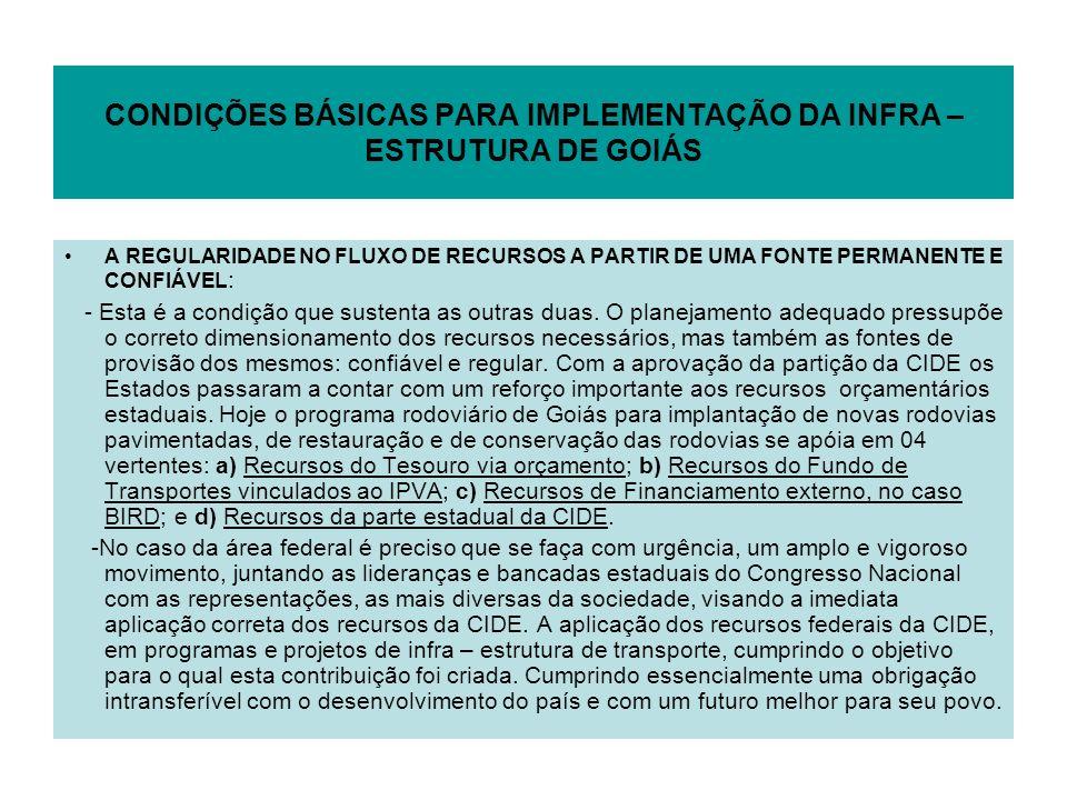 CONDIÇÕES BÁSICAS PARA IMPLEMENTAÇÃO DA INFRA – ESTRUTURA DE GOIÁS