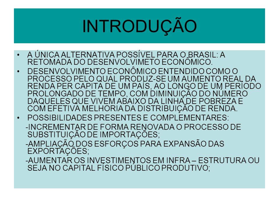 INTRODUÇÃO A ÚNICA ALTERNATIVA POSSÍVEL PARA O BRASIL: A RETOMADA DO DESENVOLVIMETO ECONÔMICO.