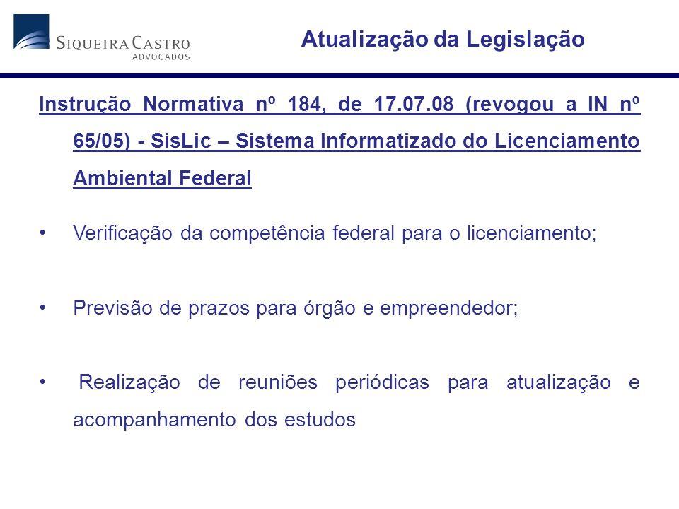 Atualização da Legislação