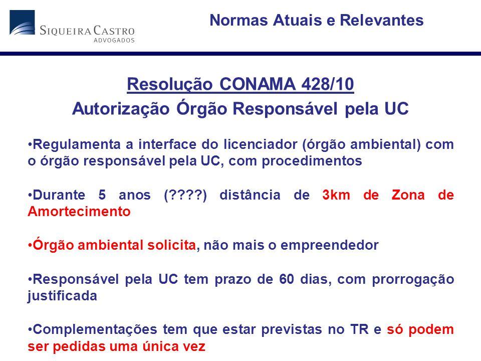 Normas Atuais e Relevantes Autorização Órgão Responsável pela UC