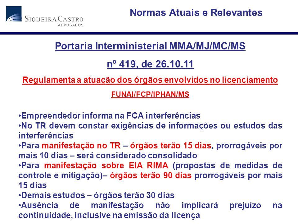 Normas Atuais e Relevantes Portaria Interministerial MMA/MJ/MC/MS