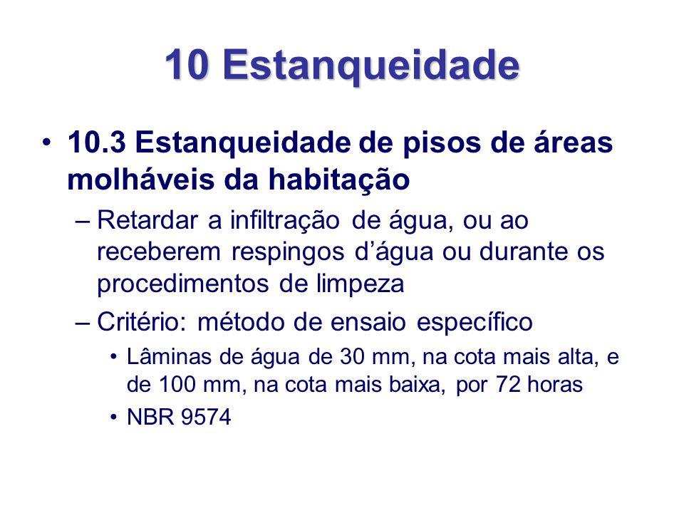 10 Estanqueidade 10.3 Estanqueidade de pisos de áreas molháveis da habitação.
