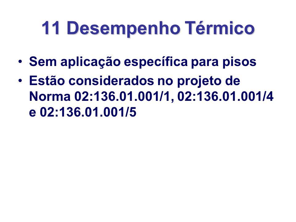 11 Desempenho Térmico Sem aplicação específica para pisos