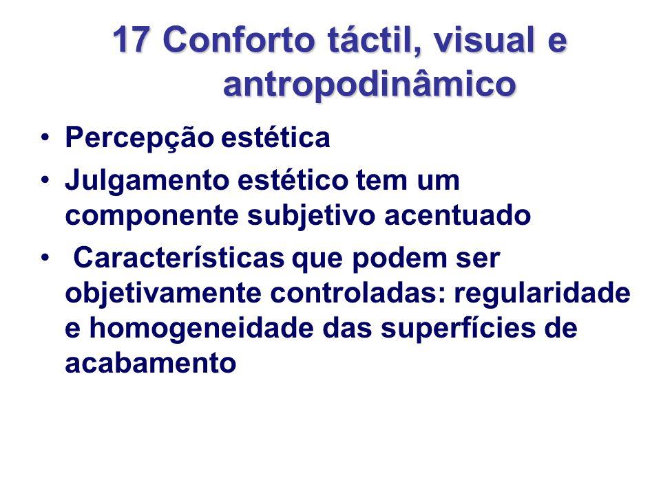 17 Conforto táctil, visual e antropodinâmico