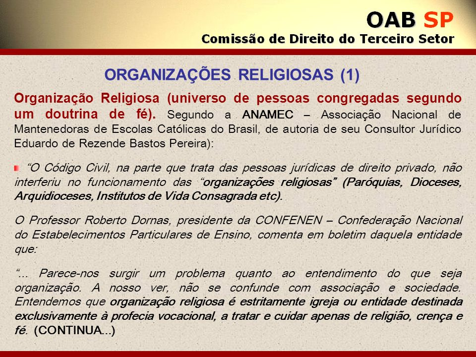 ORGANIZAÇÕES RELIGIOSAS (1)
