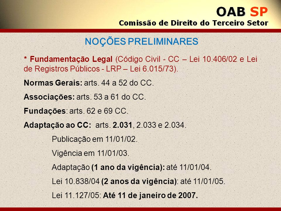 NOÇÕES PRELIMINARES * Fundamentação Legal (Código Civil - CC – Lei 10.406/02 e Lei de Registros Públicos - LRP – Lei 6.015/73).