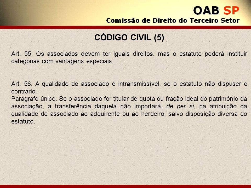 CÓDIGO CIVIL (5) Art. 55. Os associados devem ter iguais direitos, mas o estatuto poderá instituir categorias com vantagens especiais.