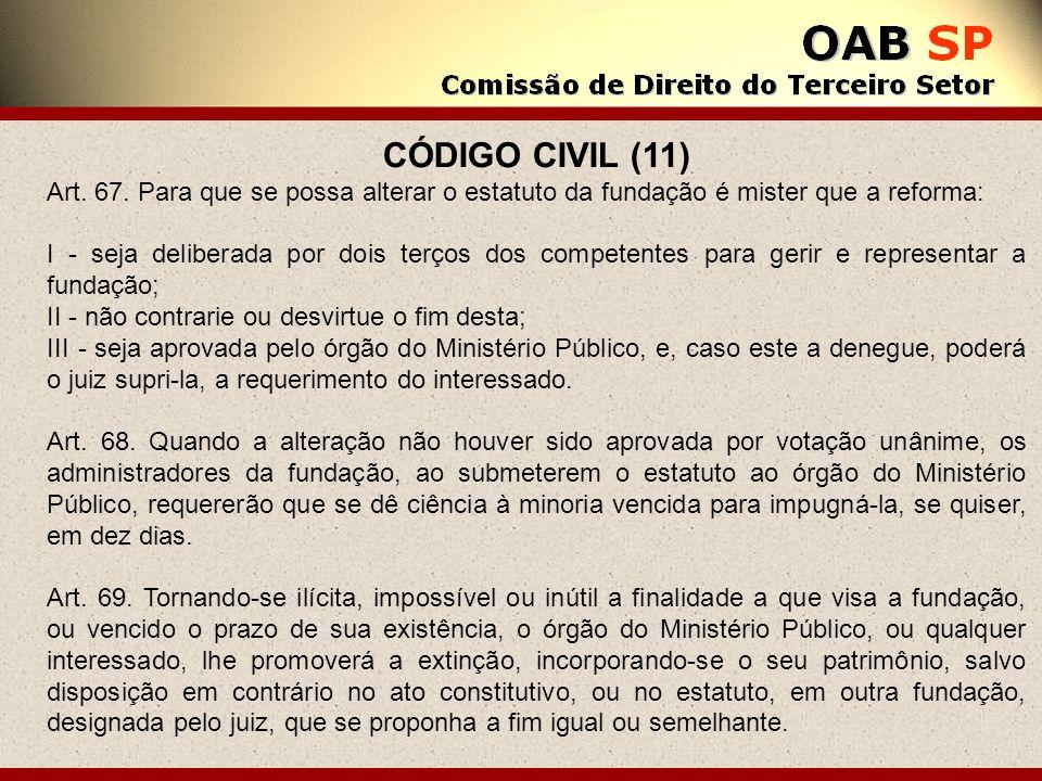 CÓDIGO CIVIL (11) Art. 67. Para que se possa alterar o estatuto da fundação é mister que a reforma: