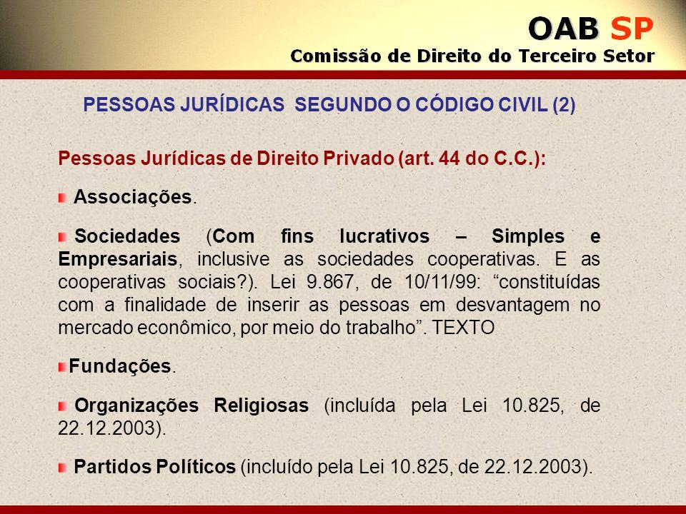 PESSOAS JURÍDICAS SEGUNDO O CÓDIGO CIVIL (2)