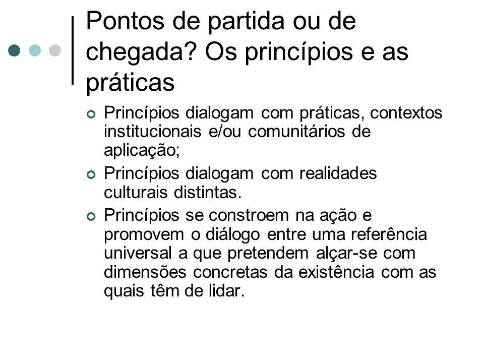 Pontos de partida ou de chegada Os princípios e as práticas