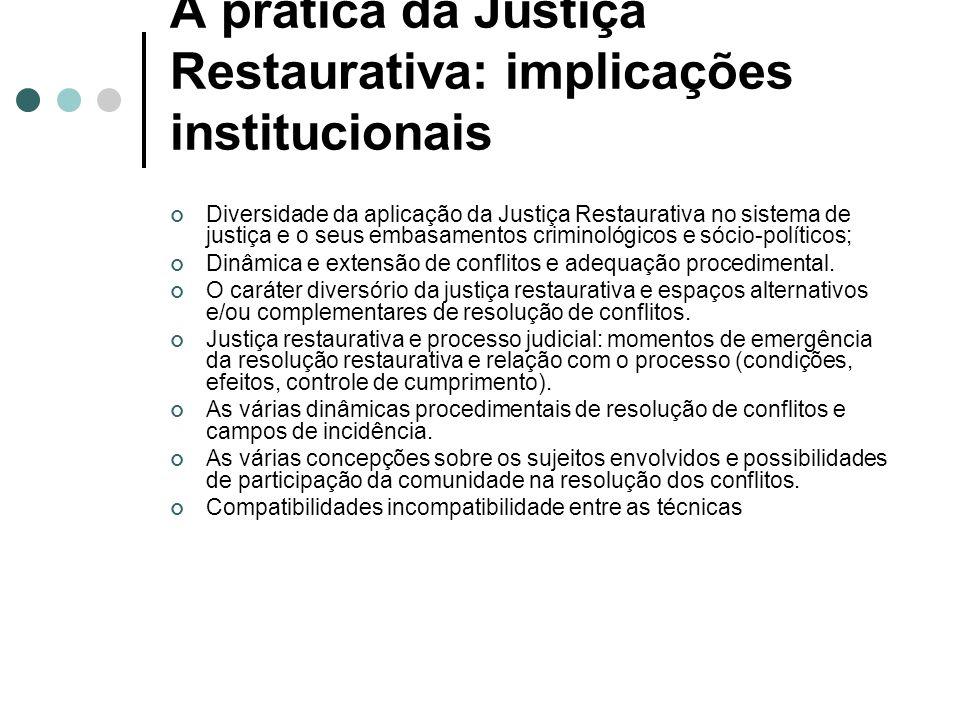 A prática da Justiça Restaurativa: implicações institucionais