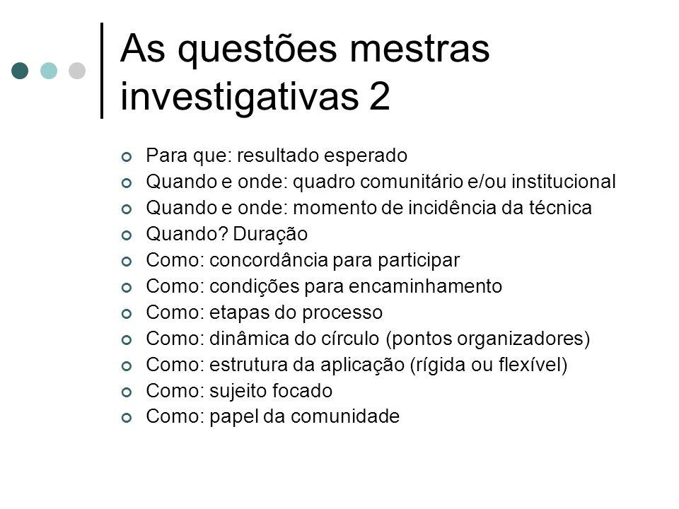 As questões mestras investigativas 2