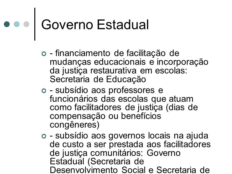 Governo Estadual - financiamento de facilitação de mudanças educacionais e incorporação da justiça restaurativa em escolas: Secretaria de Educação.
