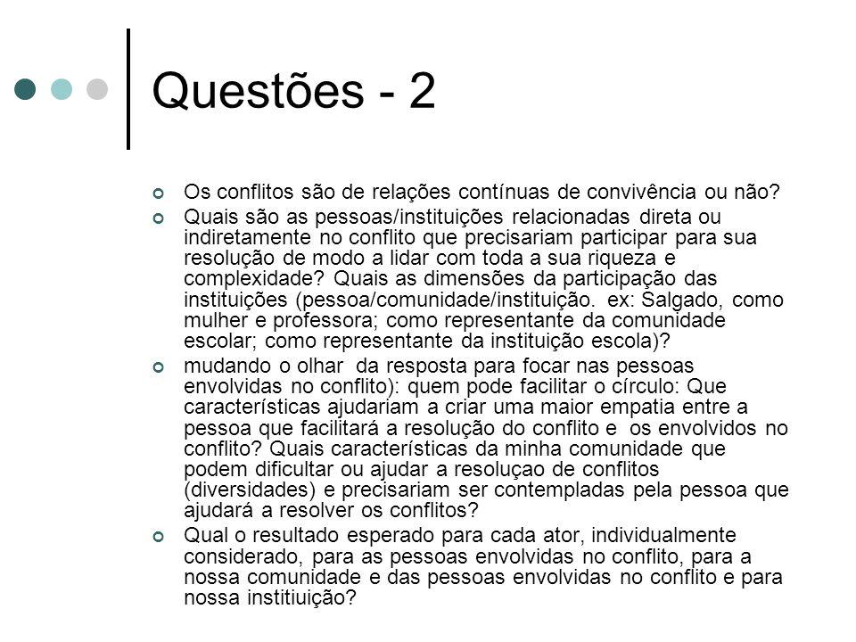 Questões - 2 Os conflitos são de relações contínuas de convivência ou não