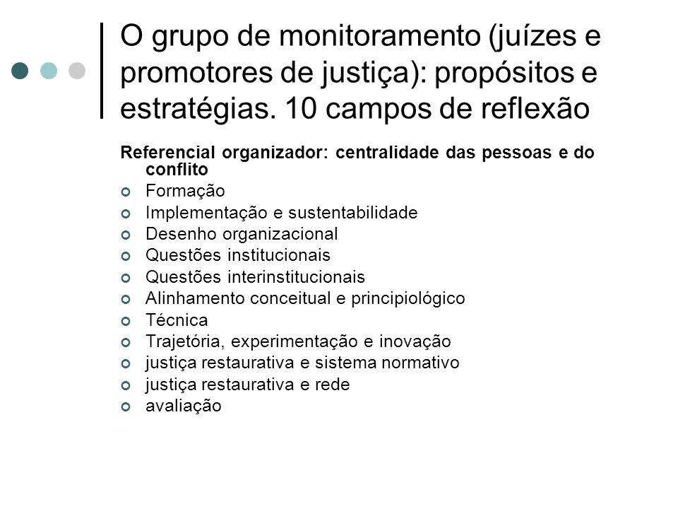O grupo de monitoramento (juízes e promotores de justiça): propósitos e estratégias. 10 campos de reflexão