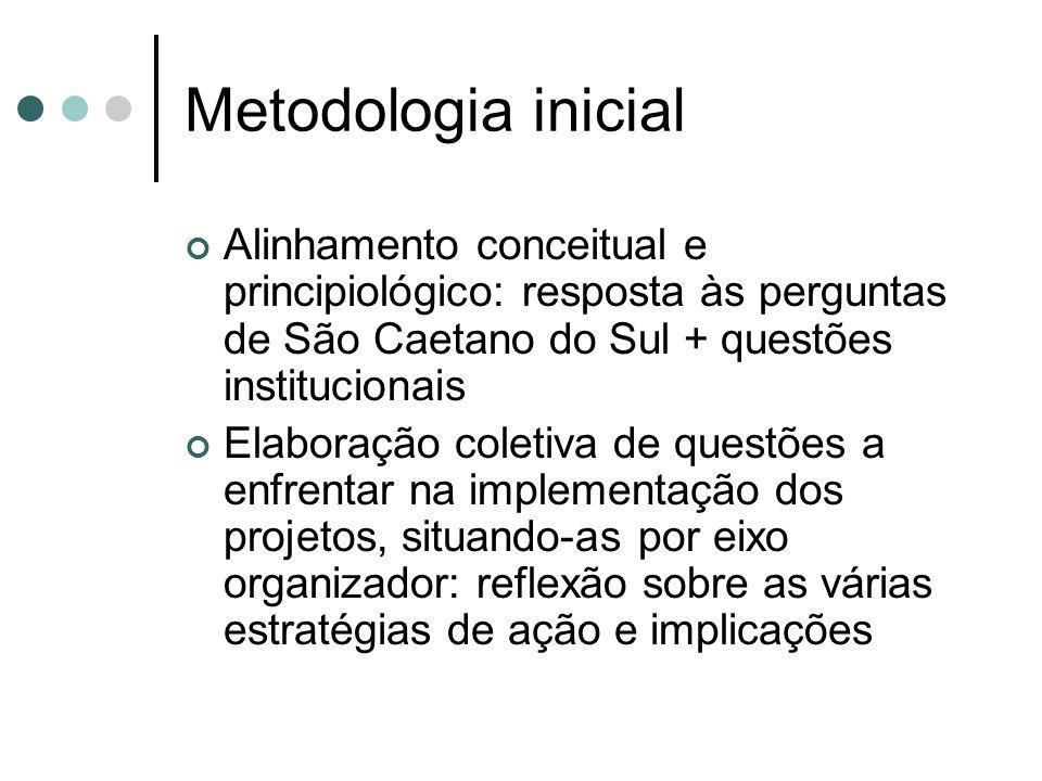 Metodologia inicial Alinhamento conceitual e principiológico: resposta às perguntas de São Caetano do Sul + questões institucionais.