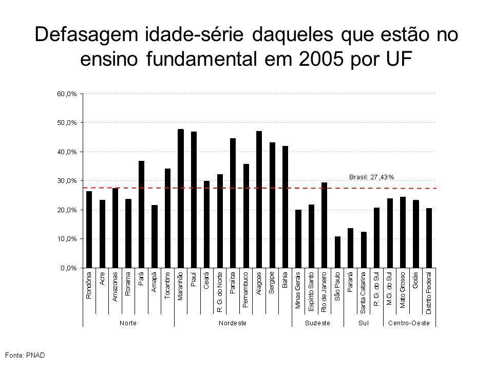 Defasagem idade-série daqueles que estão no ensino fundamental em 2005 por UF