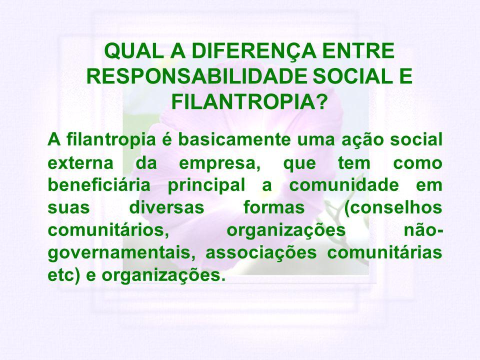 QUAL A DIFERENÇA ENTRE RESPONSABILIDADE SOCIAL E FILANTROPIA