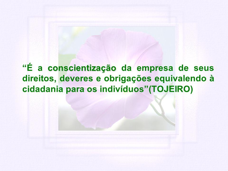 É a conscientização da empresa de seus direitos, deveres e obrigações equivalendo à cidadania para os indivíduos (TOJEIRO)