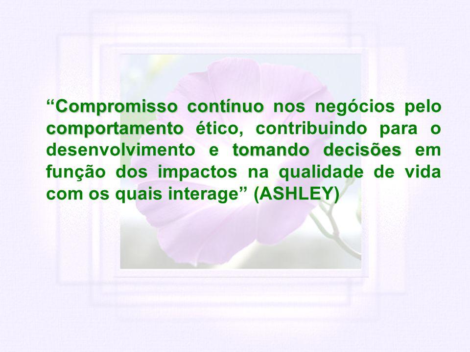 Compromisso contínuo nos negócios pelo comportamento ético, contribuindo para o desenvolvimento e tomando decisões em função dos impactos na qualidade de vida com os quais interage (ASHLEY)