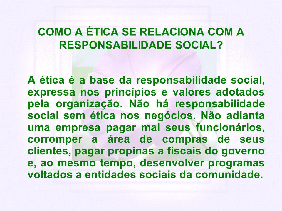 COMO A ÉTICA SE RELACIONA COM A RESPONSABILIDADE SOCIAL