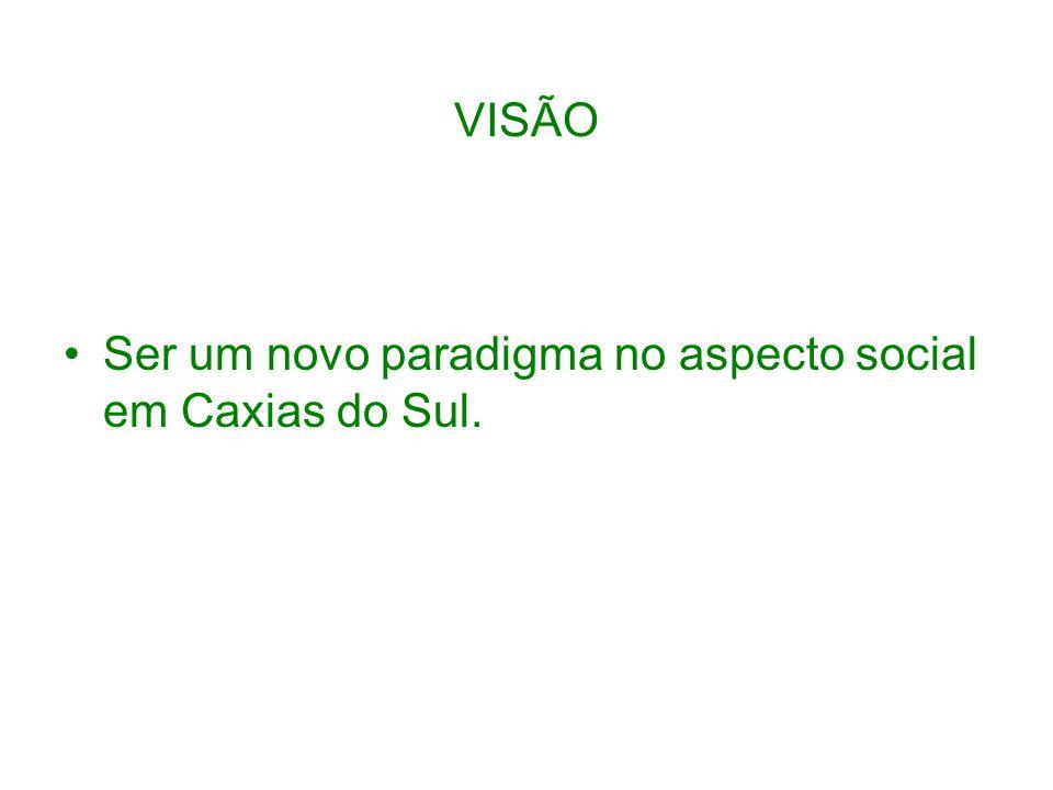 VISÃO Ser um novo paradigma no aspecto social em Caxias do Sul.