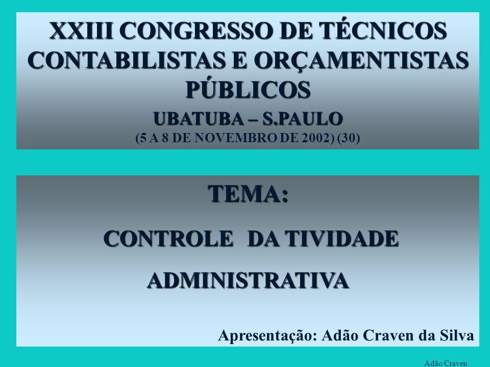 XXIII CONGRESSO DE TÉCNICOS CONTABILISTAS E ORÇAMENTISTAS PÚBLICOS