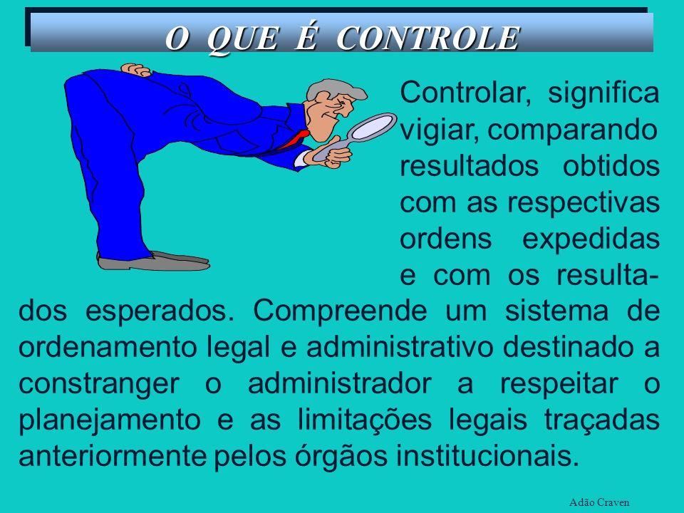O QUE É CONTROLE Controlar, significa vigiar, comparando