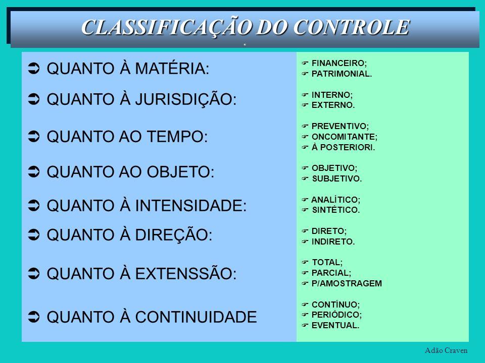 CLASSIFICAÇÃO DO CONTROLE