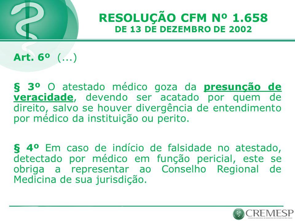 RESOLUÇÃO CFM Nº 1.658 Art. 6º (...)