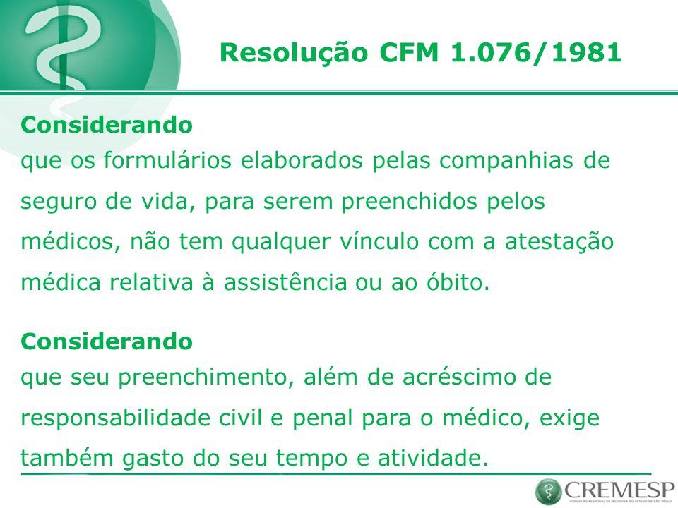 Resolução CFM 1.076/1981 Considerando